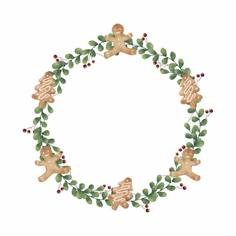 Christmas gingerbread cookies wreath decoration in watercolor style