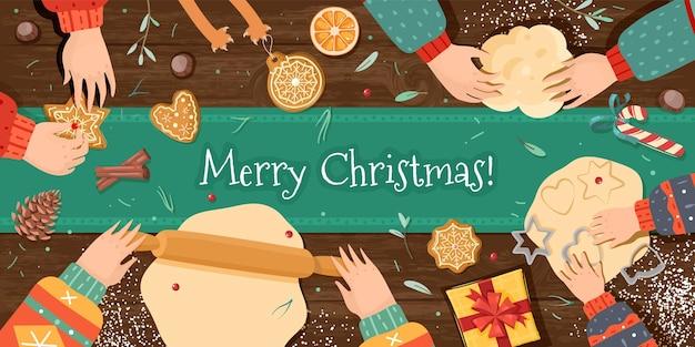 Christmas gingerbread cooking horizontal illustration