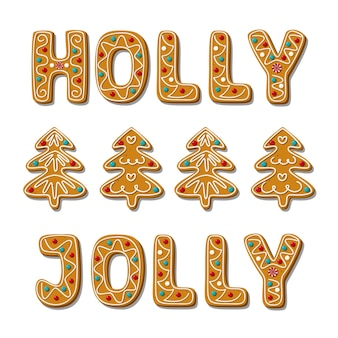 크리스마스 진저 브레드 홀리 졸리 문구와 나무 수제 쿠키