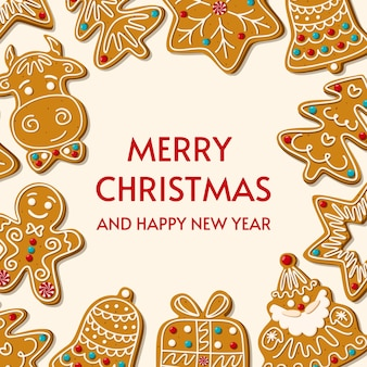 Christmas gingerbread homemade cookies. greeting card. merry christmas and happy new year on white background.  illustration.