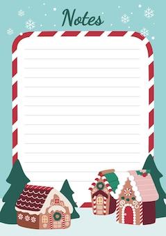 메모 작업을 위한 크리스마스 진저브레드 하우스 빌리지 편지지 목록 주최자 및 플래너