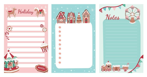 Christmas gingerbread house village sweets and theme park stationery for notes and to do list
