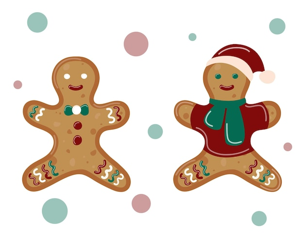 Christmas gingerbread isolated. ginger man set. vector illustration.