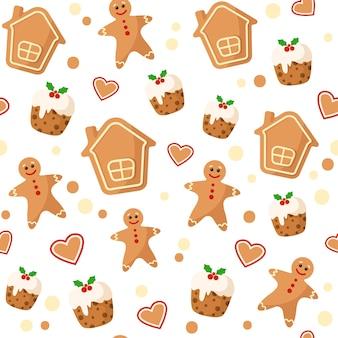 クリスマスジンジャーブレッドマンと家の子供たちのシームレスなパターン