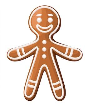 크리스마스 진저 브레드 남자 쿠키. 흰색 바탕에. 휴일 그림.