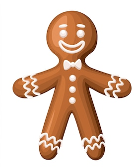 Christmas gingerbread man cookie.  on white background. holiday  illustration.
