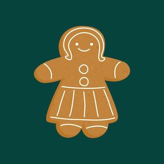 Рождественские пряники человечек девочка новогоднее печенье женщина персонаж имбирный пряник с глазурью