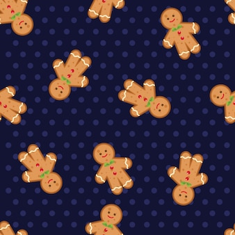 Christmas gingerbread man is decorated in xmas hat on polka dots seamless background.