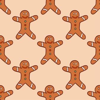 Christmas gingerbread man pattern background social media post christmas vector illustration