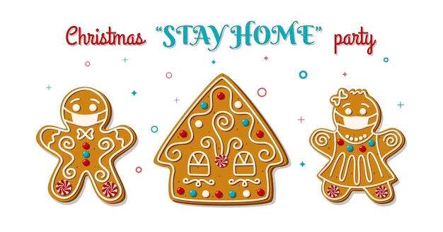 Christmas gingerbread man and woman in face mask on stay home party. homemade cookies.