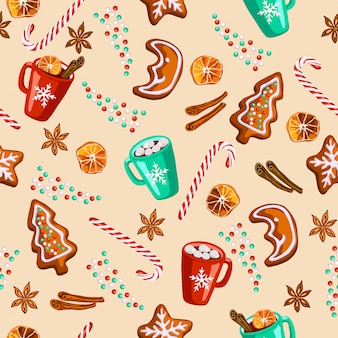 Christmas gingerbread, mulled wine, cocoa seamless pattern