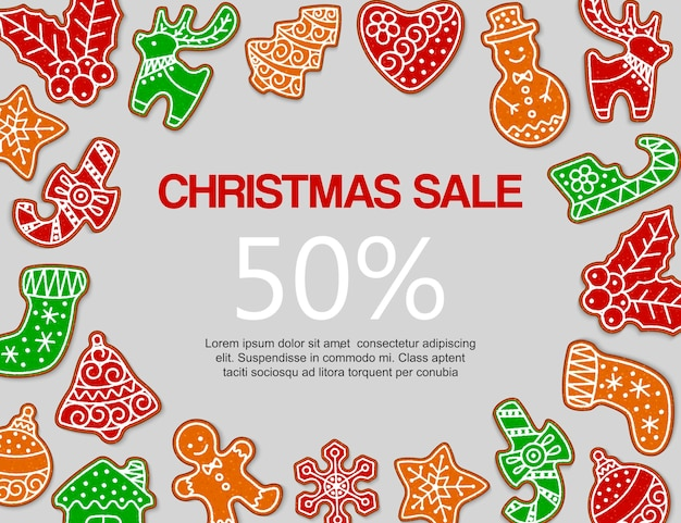 Christmas gingerbread sale banner