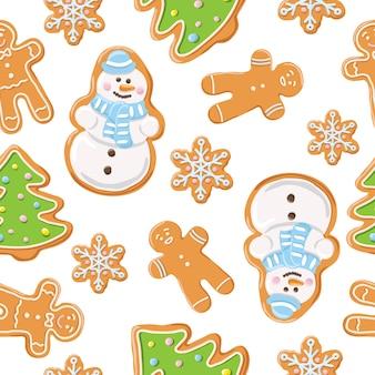 Christmas gingerbread seamless pattern