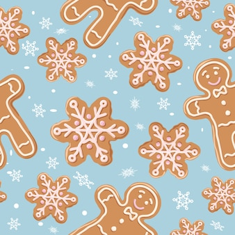 Christmas gingerbread seamless pattern