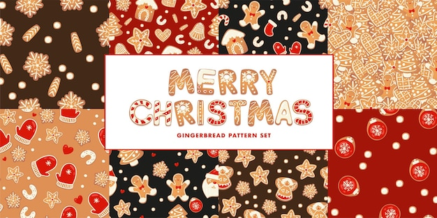 Christmas gingerbread seamless patterns set on dark back characters in cartoon style
