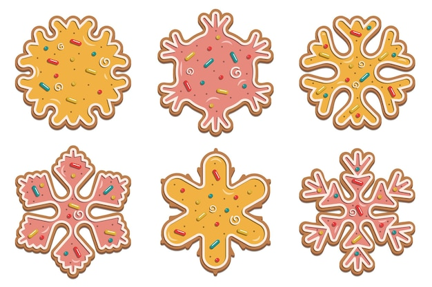 Christmas gingerbread snowflakes with delicate multicolored glaze. for the design of cards, flyers. vector illustration isolated on white background.