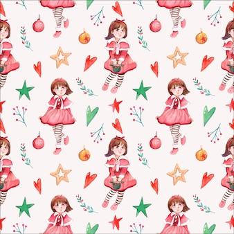 クリスマスの女の子のキャラクターのシームレスな水彩パターン