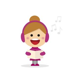 白い背景にキャロルを歌うクリスマスの女の子