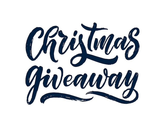 Christmas giveaway lettering. calligraphy text.
