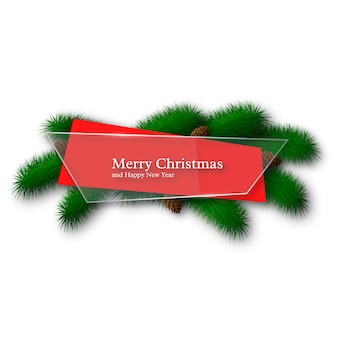 Рождественское стекло и красный абстрактный баннер с сосновыми ветками и шишками. изолированные на белом фоне.