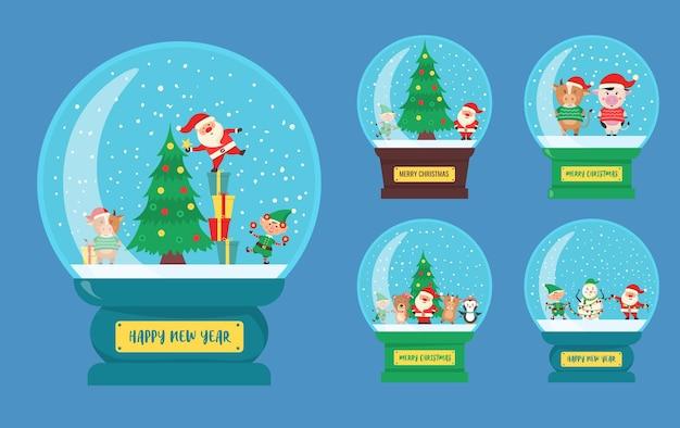 스노우 글로브 안에 겨울 캐릭터의 작은 마을과 크리스마스 유리 공 기념품 글로브