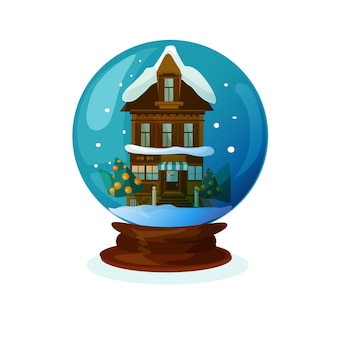 Christmas glass bowl with tiny house
