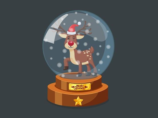 Рождественский стеклянный волшебный шар с изображением маленького оленя в векторе. веселого рождества и счастливого нового года. декоративный элемент на праздник
