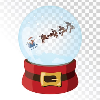Christmas glass magic ball with santa claus deer. transparent glass sphere with snowflakes.