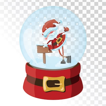 Christmas glass magic ball with santa claus. transparent glass sphere with snowflakes.