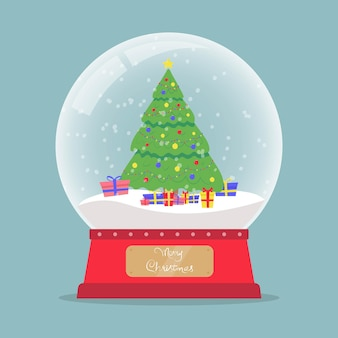 Christmas glass snow globe with christmas tree garlands and gifts new year glass ball