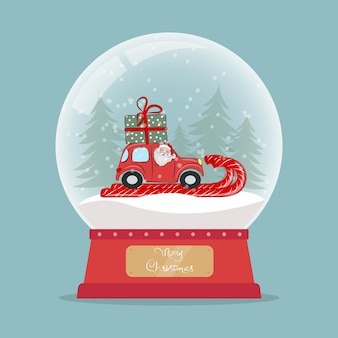 Christmas glass snow globe with santa claus in red car with a gift on the roof new year glass ball