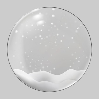Christmas glass sphere. christmas snow globe on transparent background. illustration.