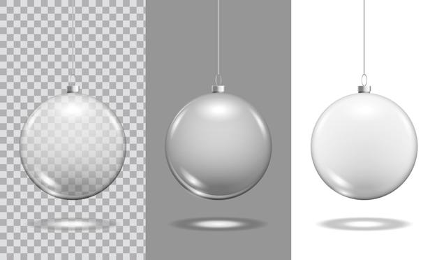 Christmas glass toy balls on transparent background. christmas festive decoration objects. xmas isolated shine decor.