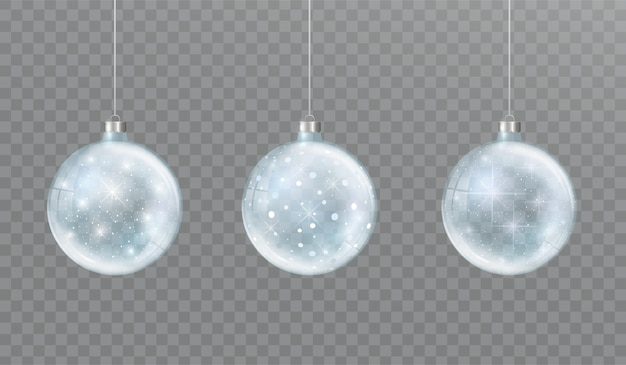 Christmas glass transparent ball with snow and glow set of winter decorations