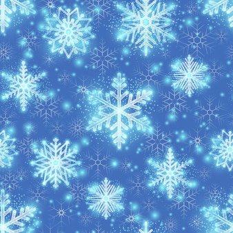 Christmas glitter background with snowflakes. winter pattern, seamless endless design for xmas, vector illustration