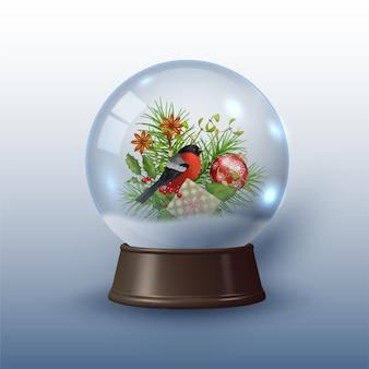 Christmas globe with a bird