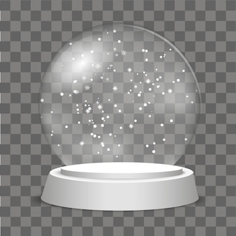 Christmas Globe with falling snow on transparent background