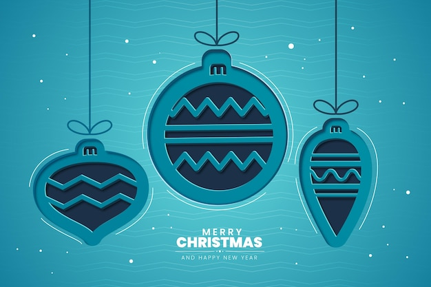 Christmas globes background in paper style