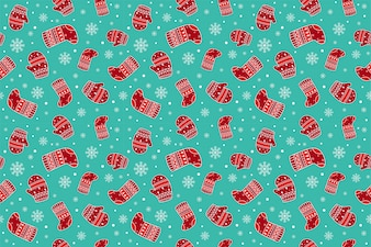 Christmas gloves and socks seamless patterns.