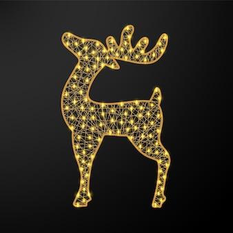 クリスマスに輝く鹿。花輪と新年の数字。現実的なベクトル図