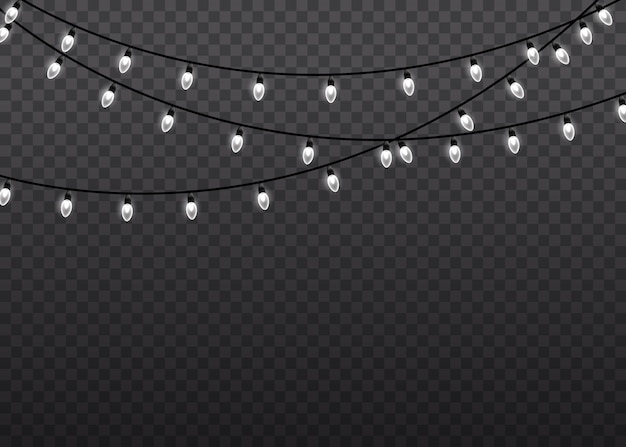 Christmas glowing garland. garlands decorations. white glow light lamp on wire strings  transparent background. christmas lights isolated realistic  elements.  illustration.