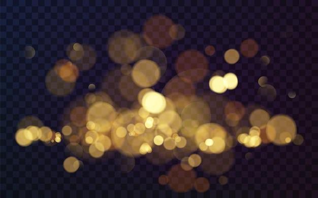 あなたのデザインのためのクリスマスの輝く暖かい金色のキラキラ要素