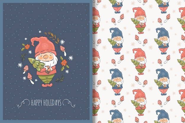 Christmas gnome hand drawn card and seamless pattern
