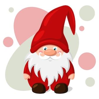 彼の頭の上の赤い帽子のクリスマスのノーム。