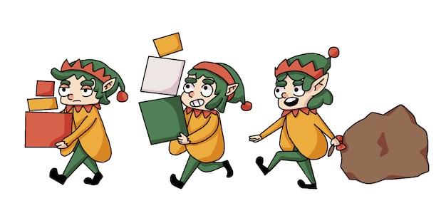 Рождественский гном поднимает коробки и подарки на прогулку