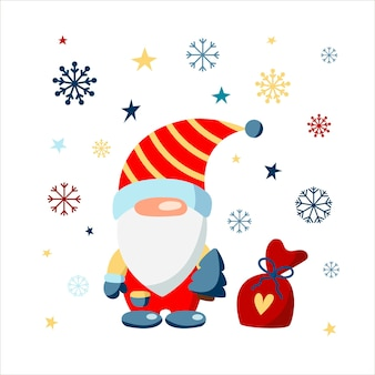 A christmas gnome in a red suit with christmas gifts snowflakes and stars