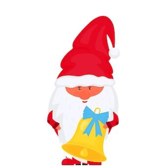 Рождественский гном с вектором колокольчик на новогодние праздники