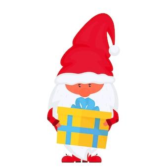 Рождественский гном с вектором подарочной коробки на новогодние праздники