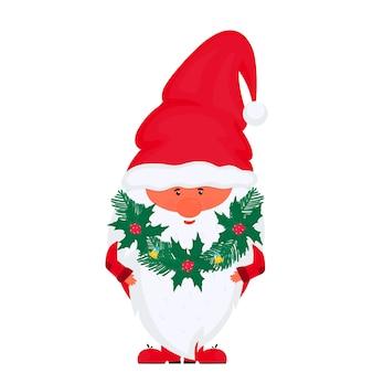 Рождественский гном с елью и гирляндой из омелы вектор на новогодние праздники