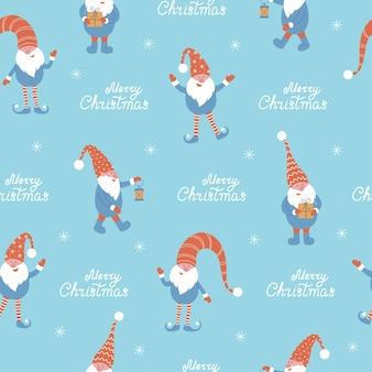 Рождественские гномы и счастливого рождества надписи бесшовные векторные иллюстрации с гномами